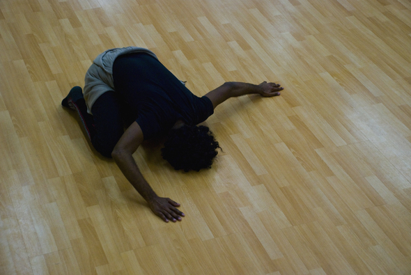 Solomon on floor
