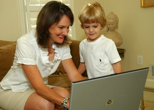 Mom and Rhodes at Computer