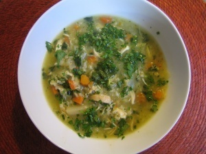 rosemary-brown-rice-cabbage-chicken-soup