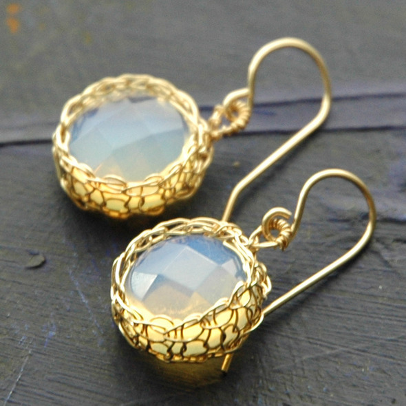 opalite coin set in crochet gold filled by Yoola