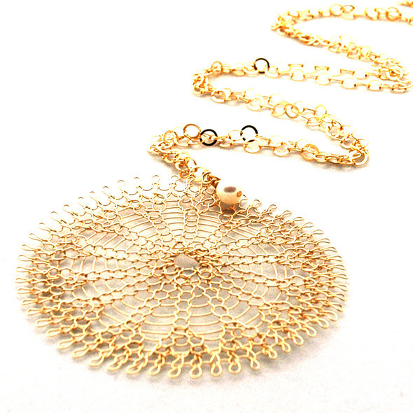 XL Golden knitted Sunflower necklace with  little  pearl