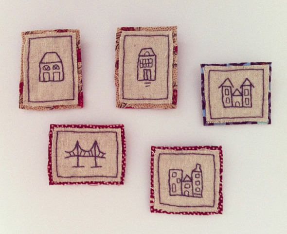 city brooches embroidered