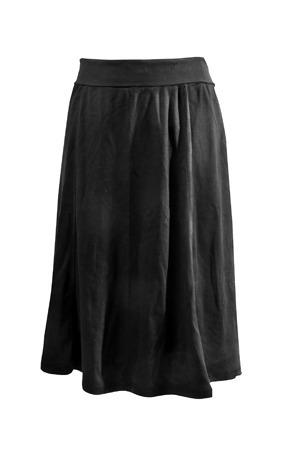 Panel Cotton Knee Length Skirt Rib 1421