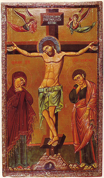 Crucifixion Icon Sinai 13th century frm Wikipedia-1