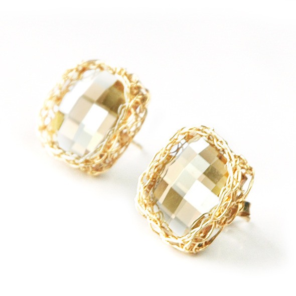 Square post champagne earrings