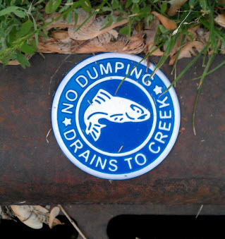 no dumping sign on storm sewer