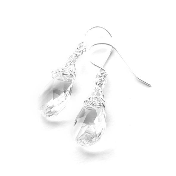 clear crystal and silver kniting earrings white 2