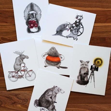Le Canot Rouge animal notecards