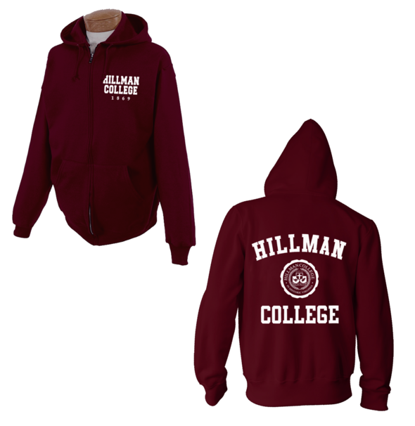 Maroon Hooded zip down jacket Official copy