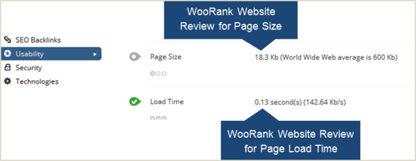 Check Your Website Page Size and Load Time using WooRank Website Review Feature