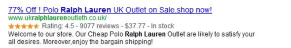 Example of a Search Result with Rich Snippets Review Markup