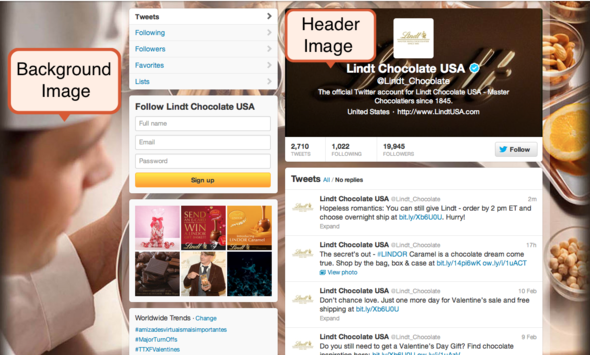 Twitter Brand Page of Lindt Chocolate USA