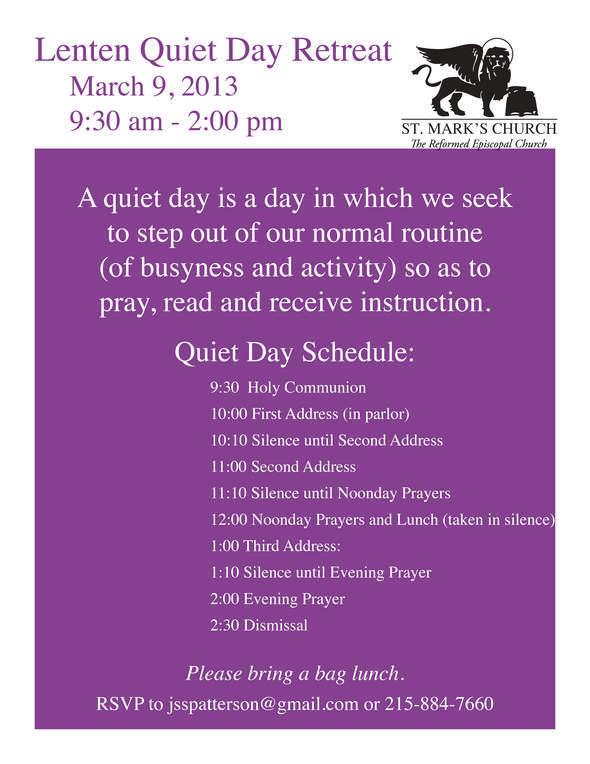 Lenten Quiet Day 2013