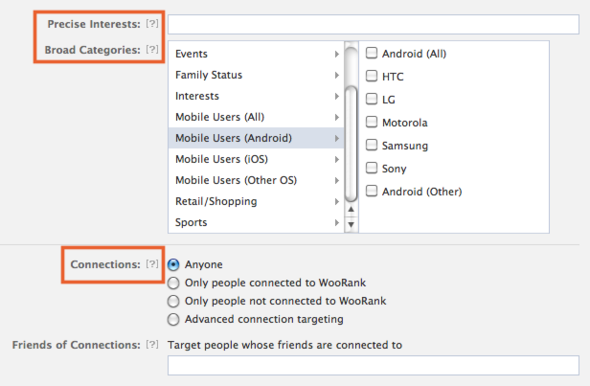 Interests and Connections Options for a Facebook Ad