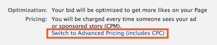 Advanced Pricing Option at Bottom of Page