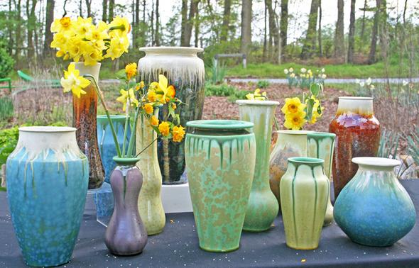 Bulldog Pottery Vase grouping Seagrove  NC