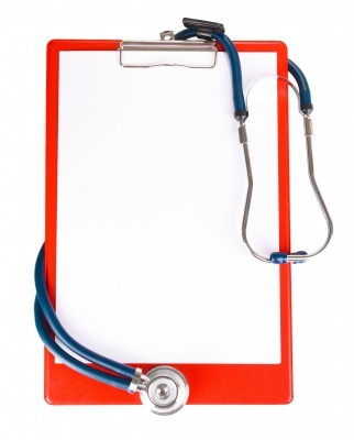 Red medical clip board
