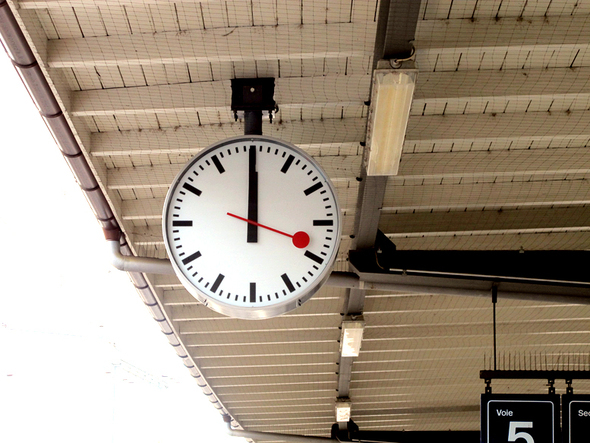Swiss train station clock