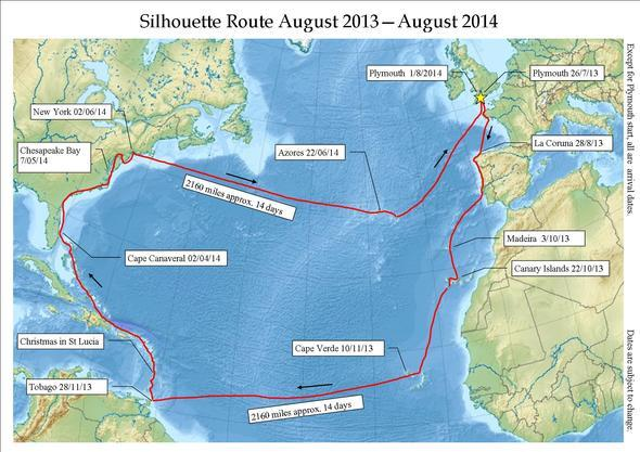 Silhouette ocean route
