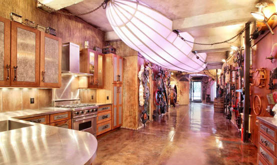 Steampunk Loft With Tarnished Metal And Concrete