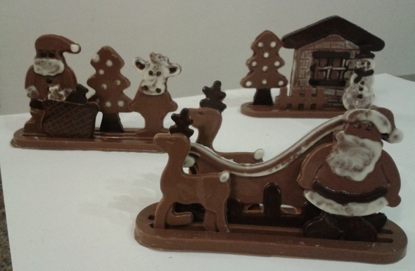 3d solid chocolate Christmas Display made with Le Salon Du Chocolat
