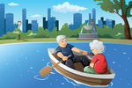 Senior couple in row boat