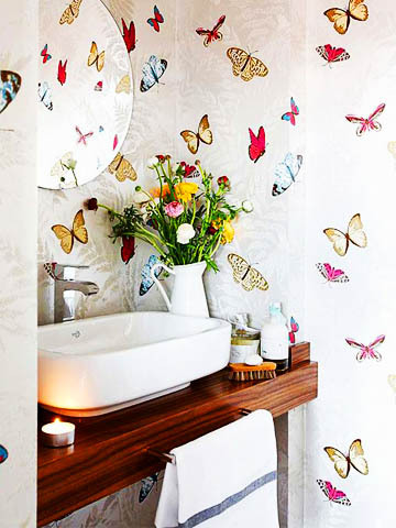 Nina Campbell Farfalla Wallpaper Butterflies Bathroom Interior Decor