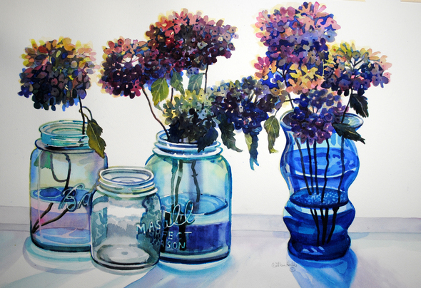 Hydrangeas and blue jar max