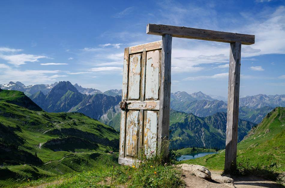 Open door in a mountains