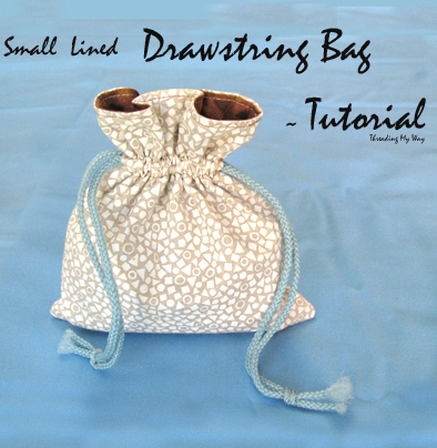 small lined drawstring bag tutorial