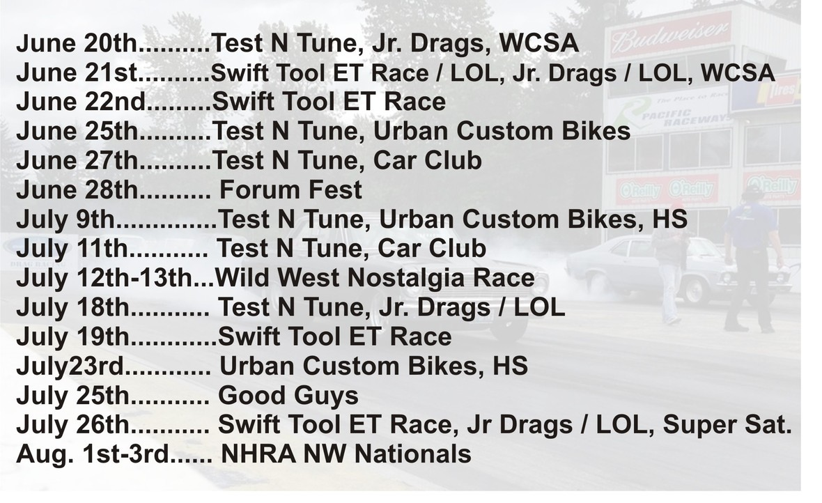 June Drag Schedule