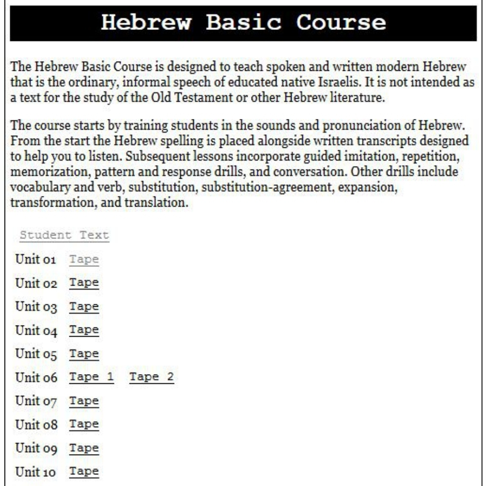 fsi basic hebrew course