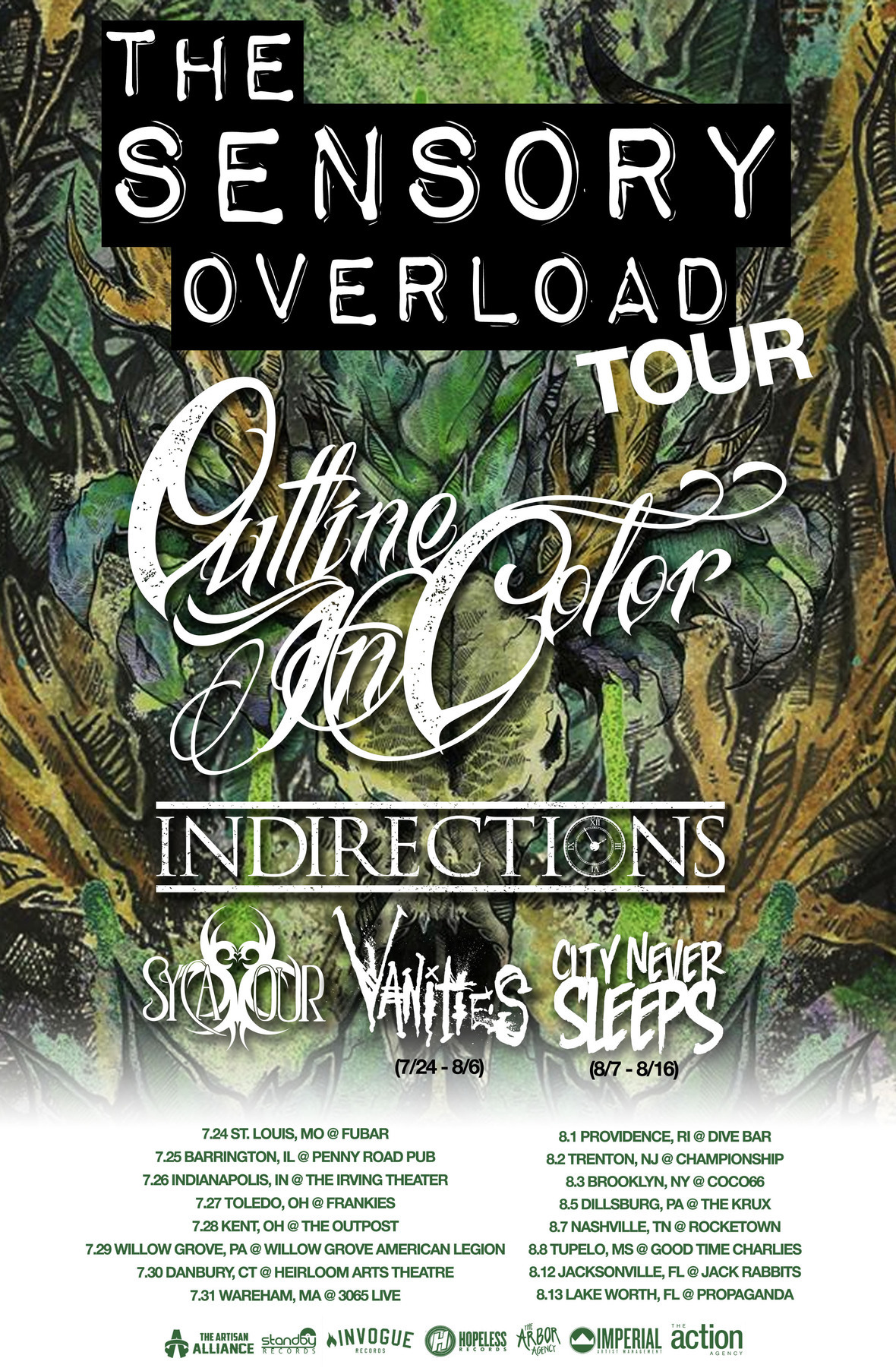 outline in color sensory overload tour poster