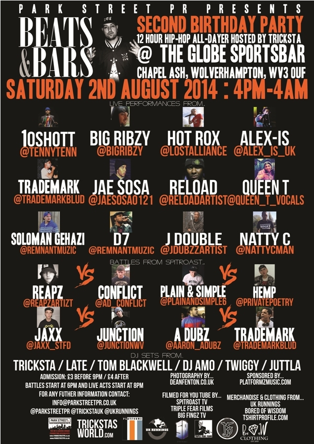 BRITHOPTV: [News/Events] Park St PR Presents Beats & Bars 2nd Birthday Party Hip-Hop Showcase, Saturday August 2, 4pm -4am, @The Globe, 33 Chapel Ash, Wolverhampton, WV3 0UFSee Full details | #UKRap #UKHipHop
