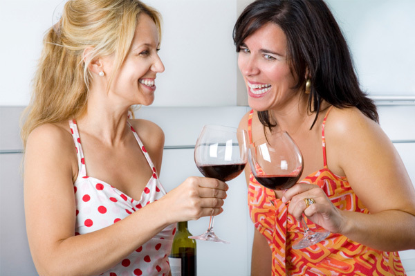 girlfriends toasting wine