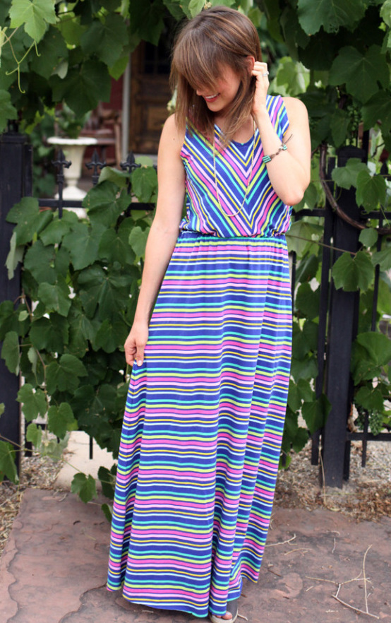 Sewbon Gleeful Fabrics Blouson Striped Maxi Dress 04
