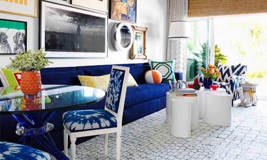 Modern Indigo Interior Decor Living Room