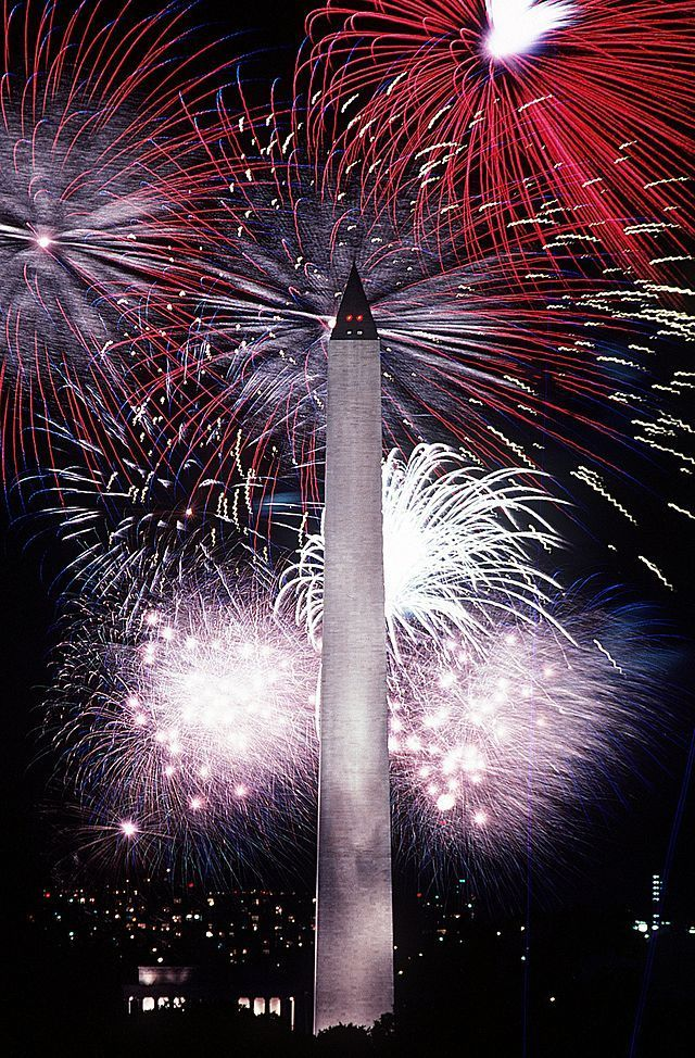 Fourth of July fireworks behind the Washington Monument  1986