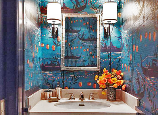 Asian Toile Wallpaper Bathroom Interior Decor