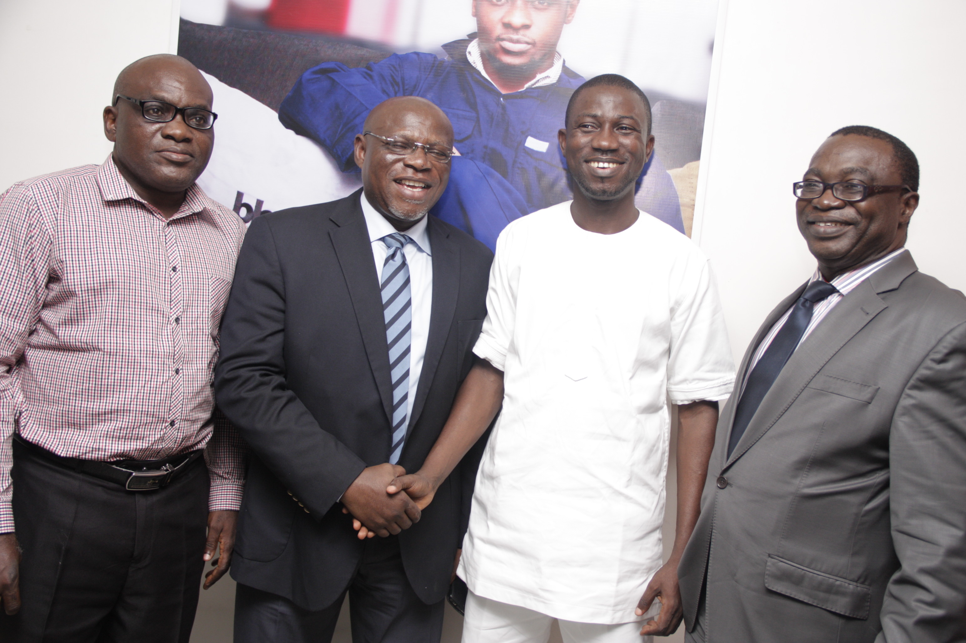 PRCAN Sec.Gen Mr Muyiwa Akintunde  Mediacraft M.D Mr John Ehiguese  BlackHouse Media CEO Ayeni Adekunle and PRCAN President Mr Chido Nwakanma at the BHM PR Mobile App announcement on Tuesday 5th August 2014