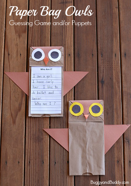 Paper Bag Owl Puppet Craft | LearnCreateLove | 600x425