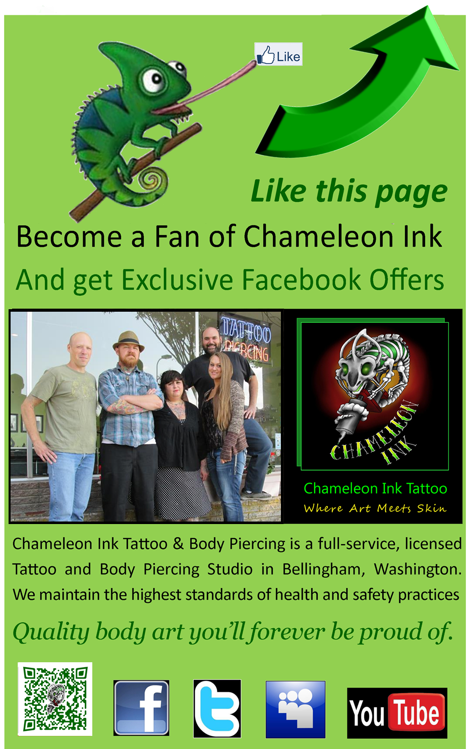 Like Chameleon Ink Tattoo On Facebook For Exclusive Offers