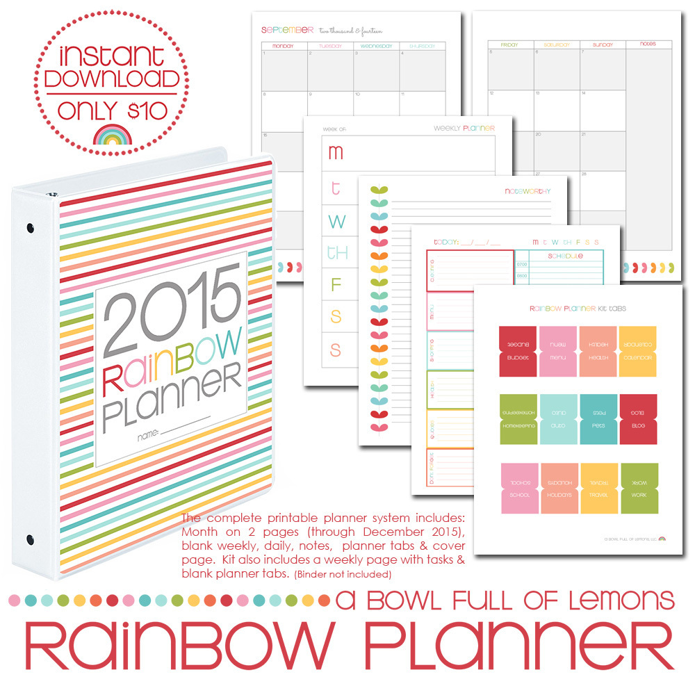 Printable Monthly Planner 2015: Launch Day Of The 2015 Rainbow Planner Printables