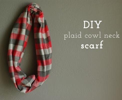 DIY Plaid Cowl Neck Scarf