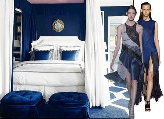 Navy New York Fashion Week Trend Interior Decor Bedroom