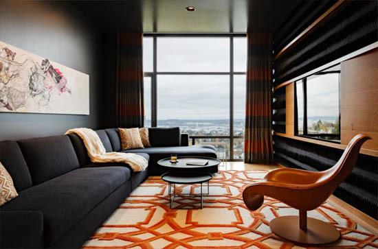 dark sexy living room orange grey maven interiors penthouse