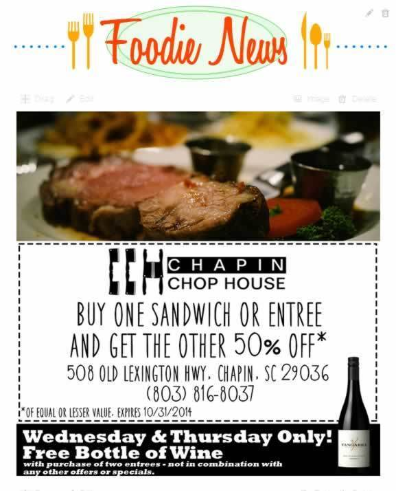 chapin chop house coupon oct 2014