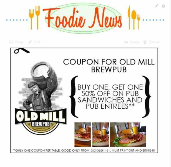 old mill brewpub coupon oct 2014