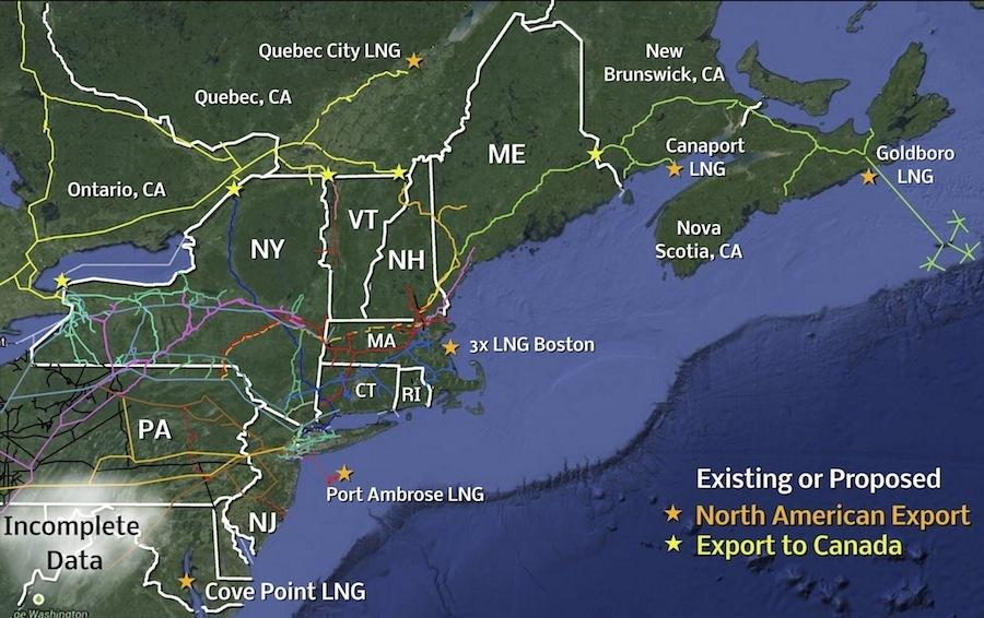 NE pipeline map