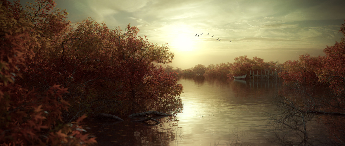 1600x680 18486 In the red lake 3d landscape nature sunset picture image digital art